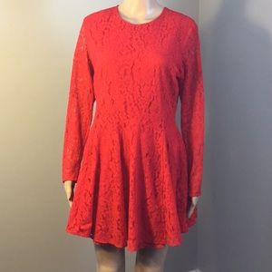 H&M : LONG-SLEEVE RED LACE DRESS:  Size 12